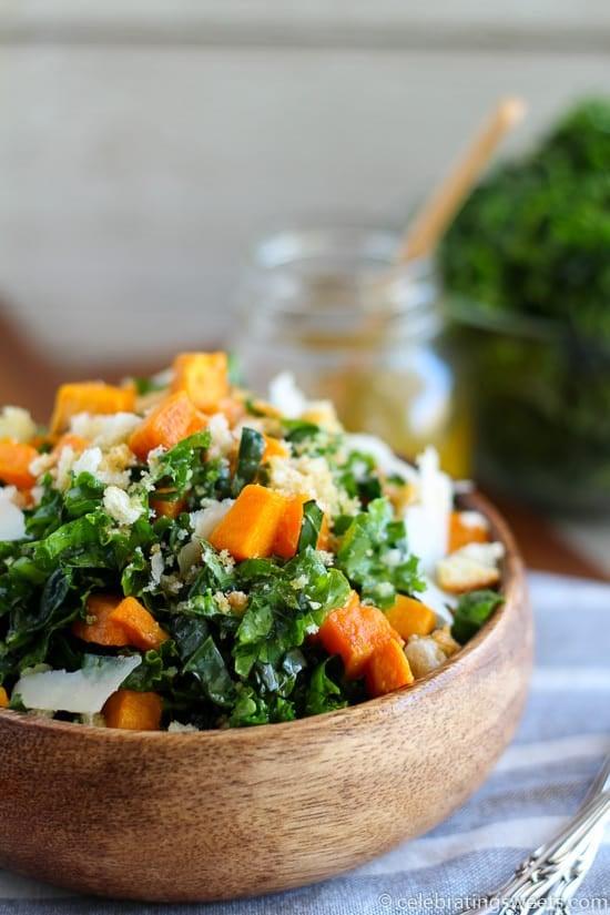 Kale and Roasted Sweet Potato Salad | Celebrating Sweets