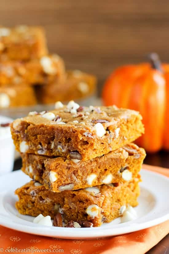 Soft and moist pumpkin blondies made with brown butter and warm spices ...