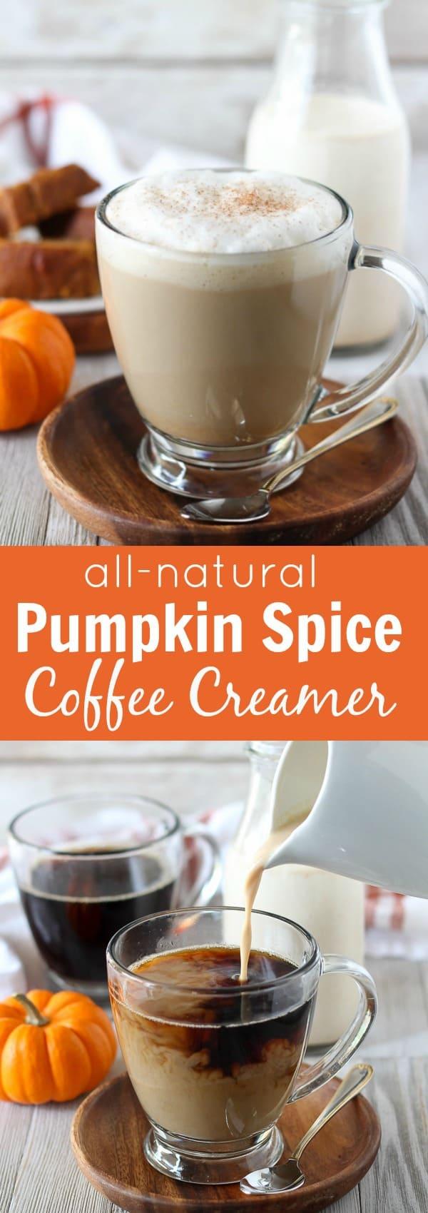 Pumpkin latte in a glass mug.