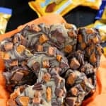 Chocolate Butterfinger Bark - Velvety chocolate bark swirled with peanut butter and topped with Butterfinger candy. Made with only 4 ingredients!