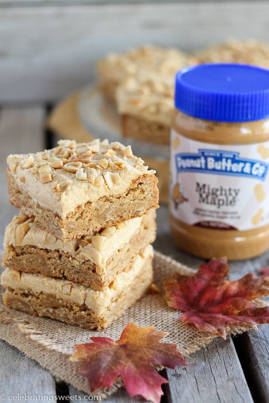 Maple Peanut Butter Bars- Thick and chewy peanut butter bars sweetened with maple syrup and topped with creamy maple peanut butter frosting.