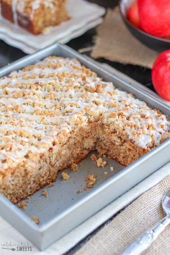 Apple Cake in a baking pan.