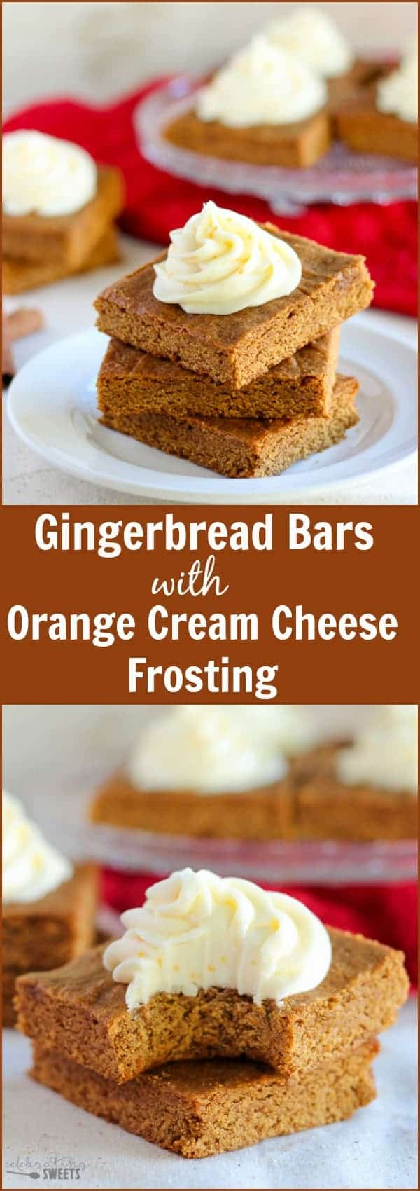 Chewy Gingerbread Bars with Orange Frosting | Celebrating Sweets