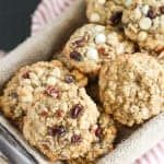 Oatmeal raisin cookies in a basket.