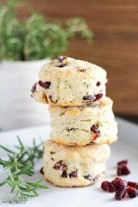 Rosemary and Dried Cranberry Biscuits - Flaky and tender homemade buttermilk biscuits filled with dried cranberries and fresh rosemary.