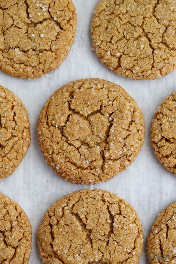 Ginger Molasses Cookies on a Baking Sheet.