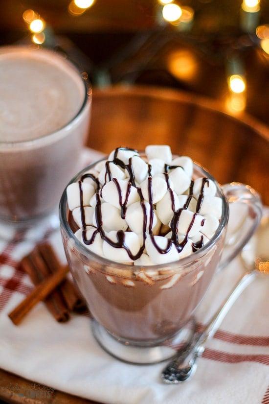 Spiked Vanilla Cinnamon Hot Chocolate - Homemade hot chocolate flavored with vanilla and cinnamon and finished with Bailey's Vanilla Cinnamon Irish Cream