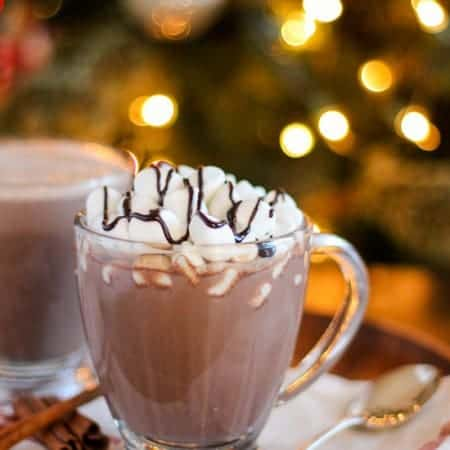 Spiked Vanilla Cinnamon Hot Chocolate - Homemade hot chocolate flavored with vanilla and cinnamon and finished with Bailey's Vanilla Cinnamon Irish Cream