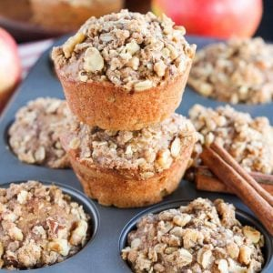 Apple Oat Muffins - Light and tender muffins filled with apples, cinnamon and oatmeal and topped with a walnut-oat streusel!