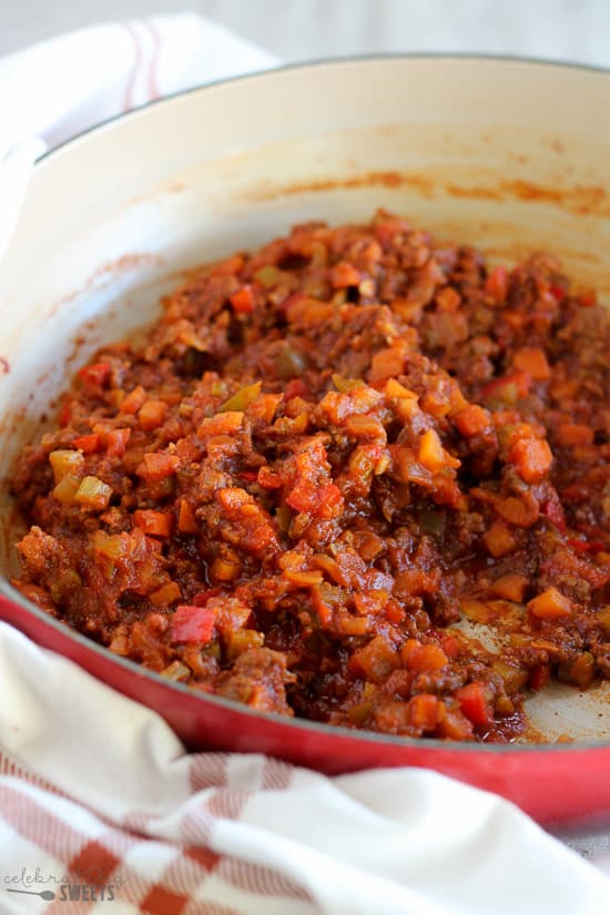 Sloppy Joe meat and vegetables in a pan