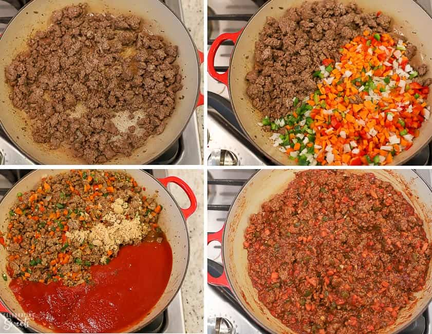 Sloppy joe meat in a pan