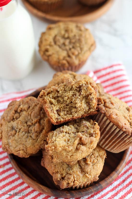 Banana Muffins in a wooden bowl