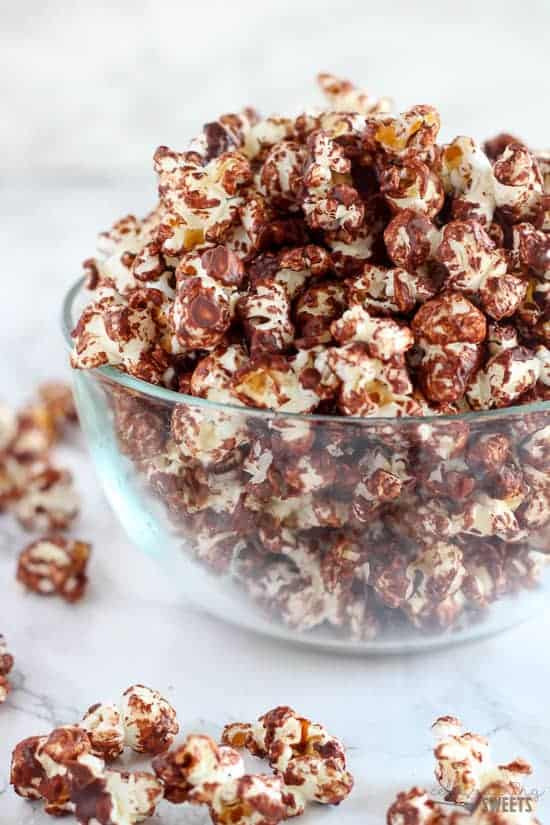 Chocolate Popcorn in a glass bowl