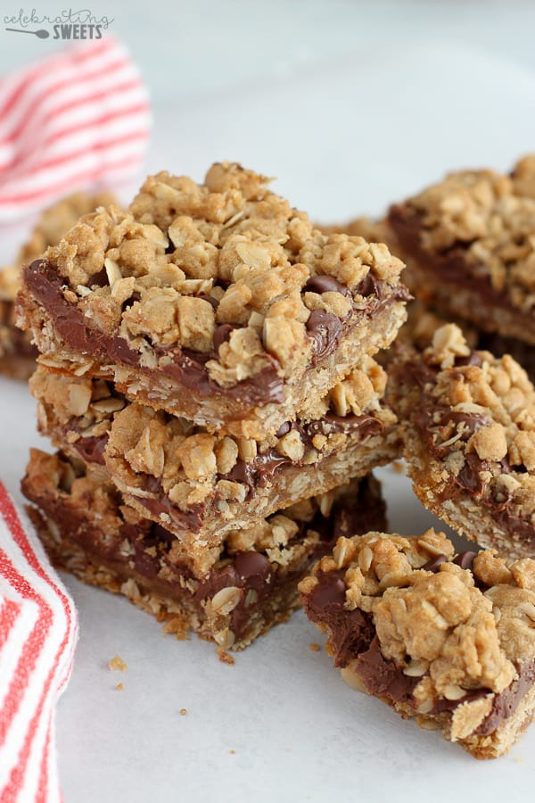 Nutella Bars in a stack with a red and white towel in the background.