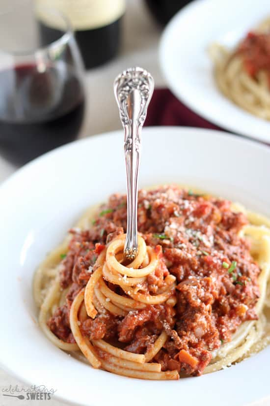 Bolognese Sauce with Pasta on a Fork.