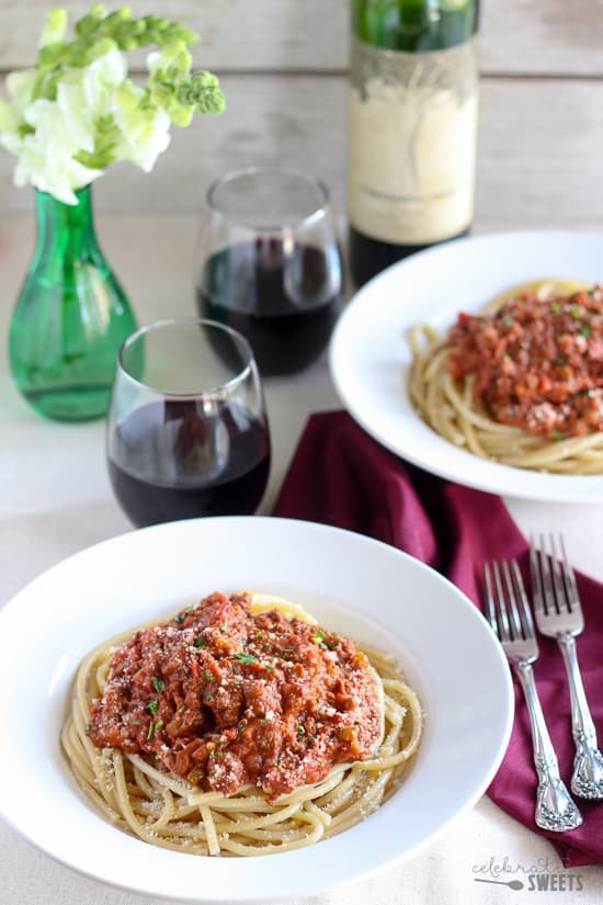 Quick Bolognese Sauce over Pasta