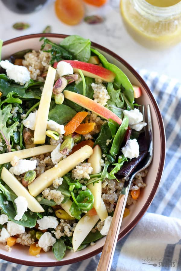 Apple, Apricot & Quinoa Salad with Goat Cheese & Pistachios