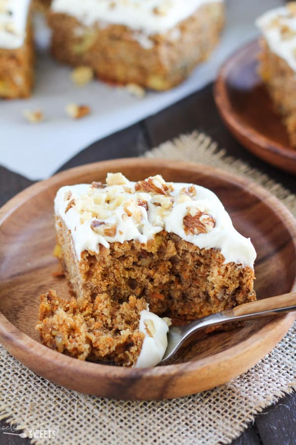 Healthier Carrot Cake - Naturally sweetened with honey, applesauce and pineapple, 100% whole grain, topped with honey cream cheese frosting.