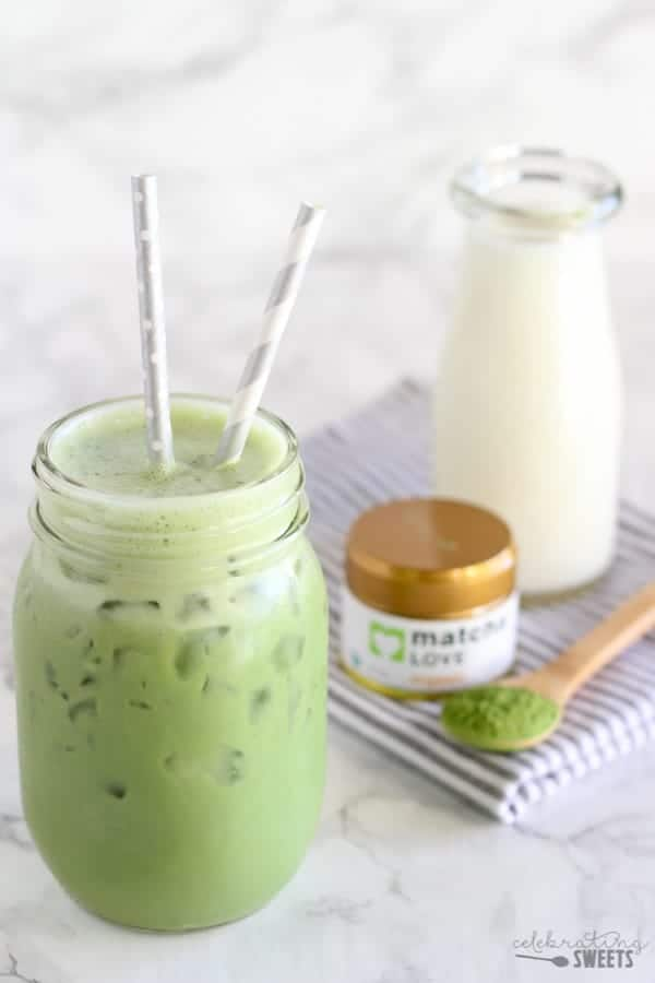 Mason jar of matcha tea.
