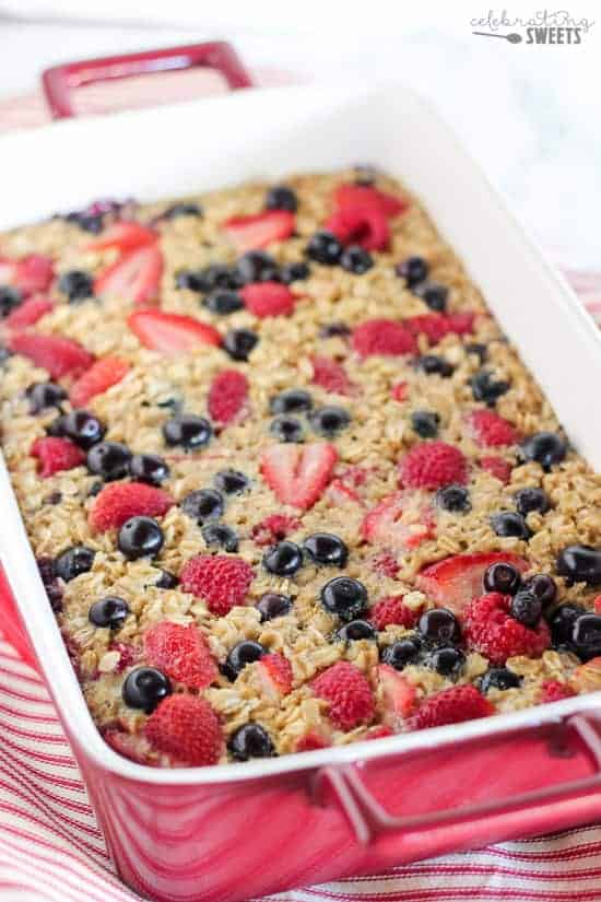 Baked Oatmeal topped with Berries.