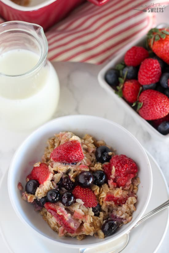 Bowl of Oatmeal with Fresh Berries.