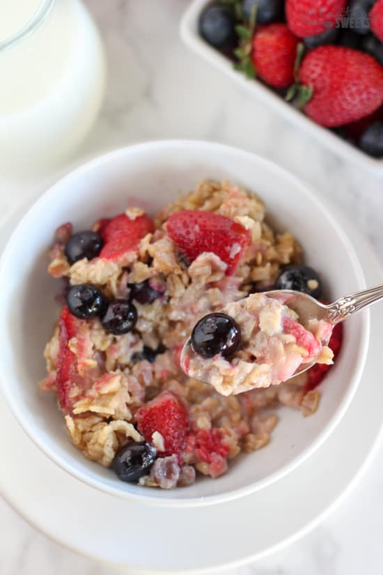 Bowl of oatmeal with berries.