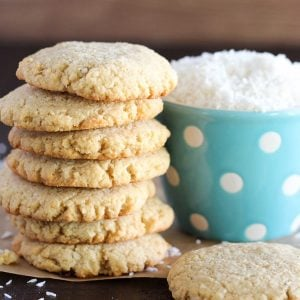 Stack of almond coconut cookies.