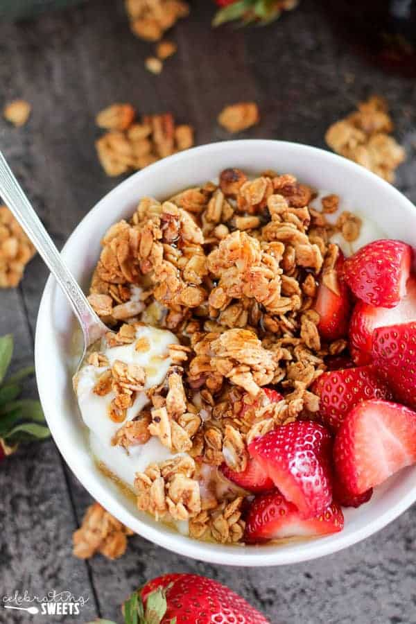 Maple Nut Granola with Yogurt, Strawberries and Maple Syrup.