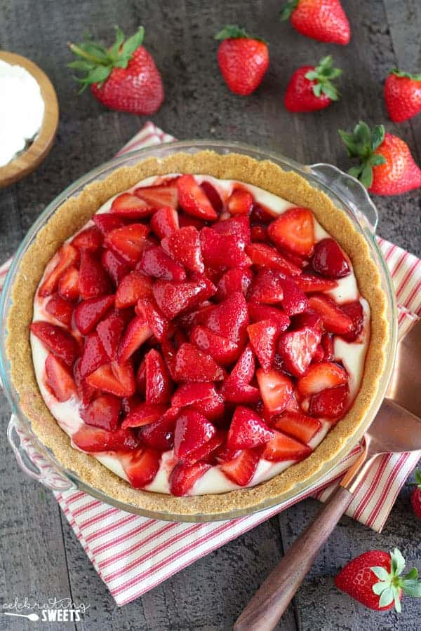 Strawberry Pie in a Graham Cracker Crust surrounded by Strawberries.