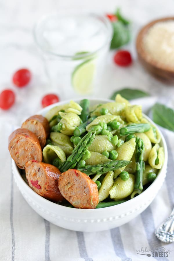 Pasta Salad with Sliced Sausage and Asparagus,