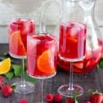 Three glasses of strawberry sangria.