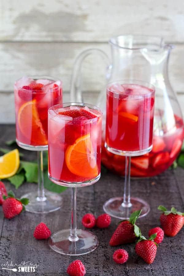 Three glasses of strawberry sangria.