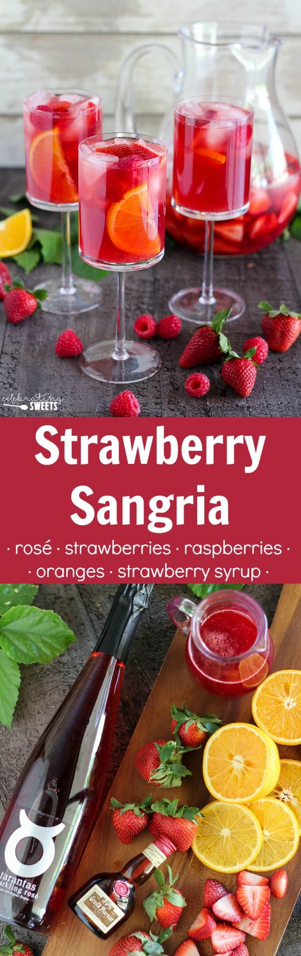 Strawberry sangria in a glass.