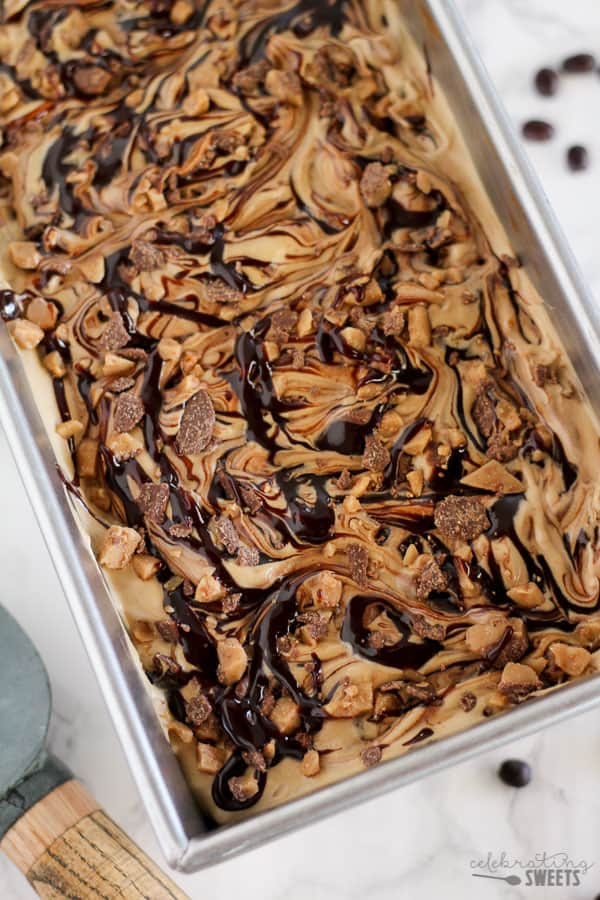 No Churn Coffee Ice Cream in a baking pan.