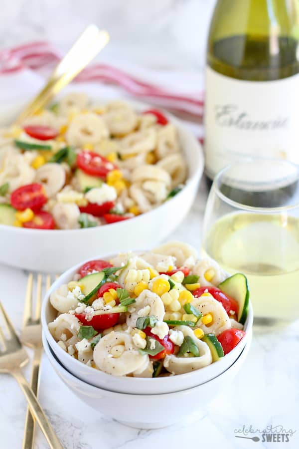 Tortellini Pasta salad with corn and tomatoes