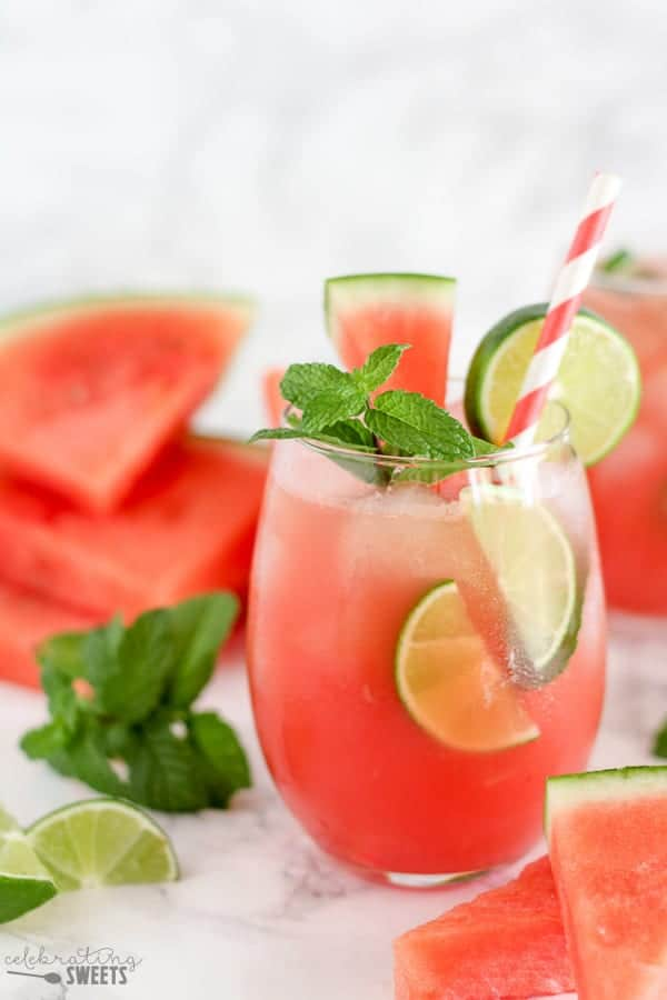 Watermelon Mojitos - Whip up a pitcher of these fresh and flavorful watermelon mojitos. Watermelon, lime, mint and rum combine in this delicious cocktail!