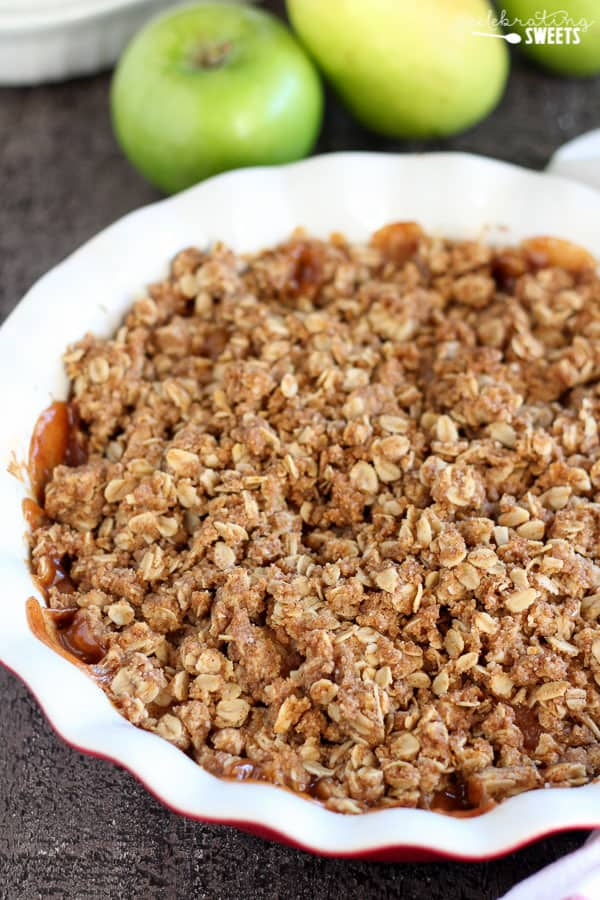 Apple Pear Crisp topped with oat streusel