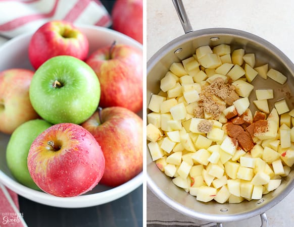 Apples for homemade applesauce (in a bowl and in a saucepan)
