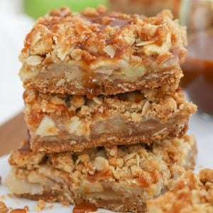 Stack of three Caramel Apple Bars.