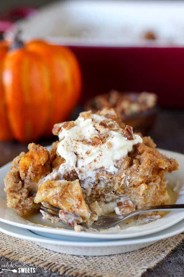 Pumpkin french toast casserole on a white plate.