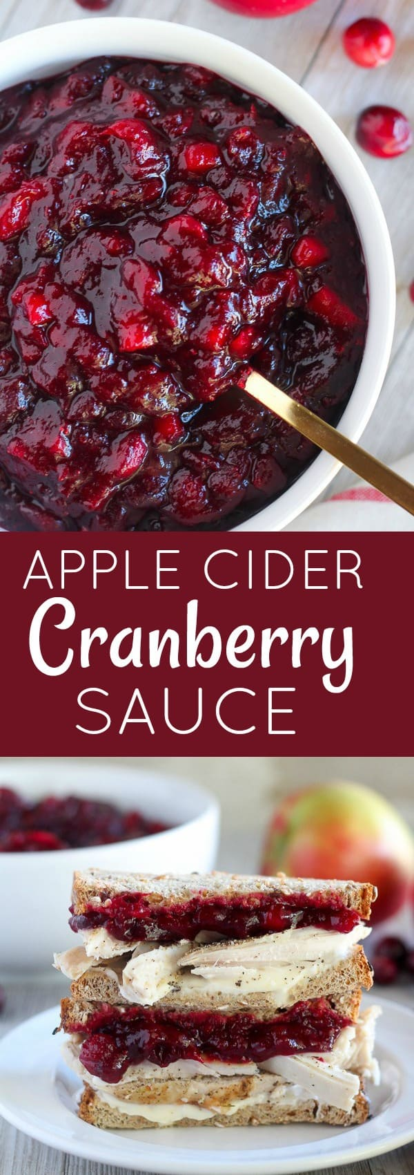 Apple Cider Cranberry Sauce - The perfect quick and easy cranberry sauce for Thanksgiving!