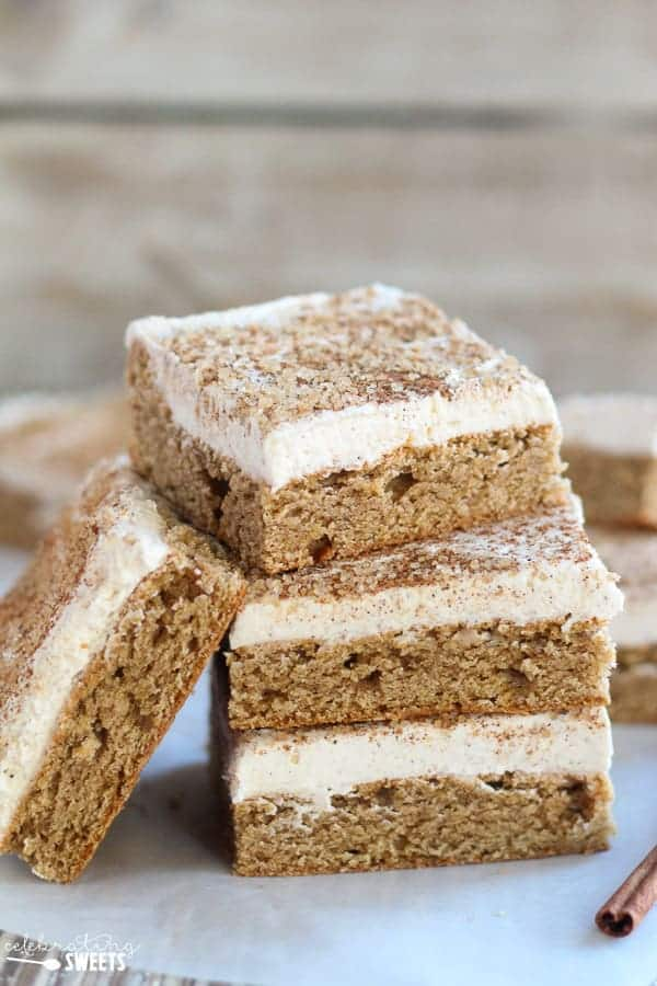 Chai Spice Cookie Bars - Soft and flavorful cookie bars filled with the comforting flavors of chai spice and topped with a thick layer of vanilla-chai frosting.