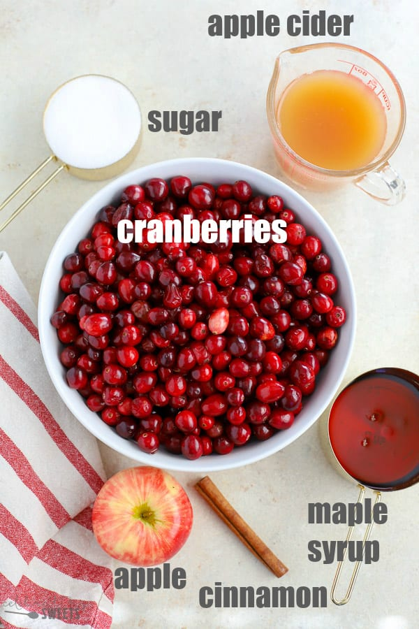 Ingredients to make homemade cranberry sauce