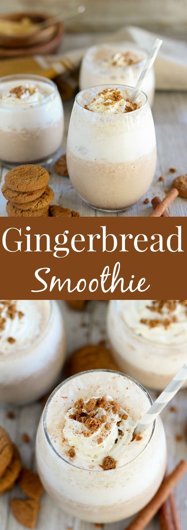Gingerbread Smoothie - A healthy Gingerbread Smoothie loaded with classic gingerbread flavor. A quick and easy breakfast, snack, or dessert for the holiday season.