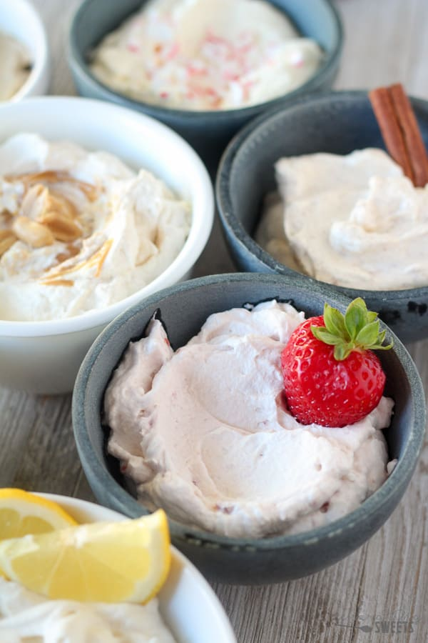 Strawberry Whipped Cream with a Fresh Strawberry.