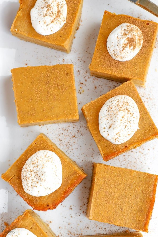 Pumpkin Pie Bars on a white platter.