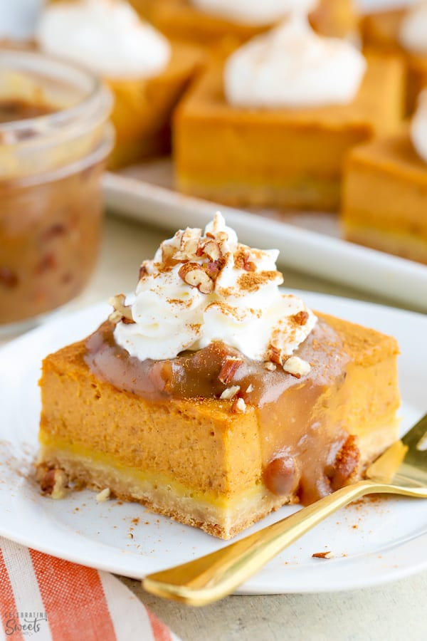 Pumpkin Pie topped with whipped cream and pecan sauce.