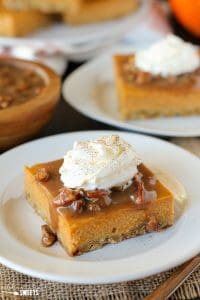 Pumpkin Pie Bars with Pecan Praline Topping
