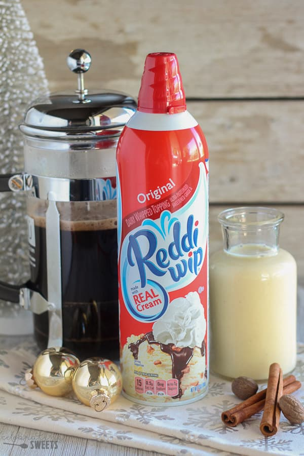 Reddi wip, coffee, and eggnog.