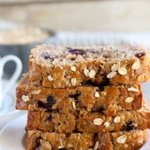 Stack of blueberry oatmeal bread.